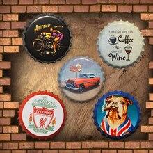Tapa de botella de cerveza Vintage lata signo Bar Pub fútbol club café hogar Decoración de pared placas para automóviles Retro Metal placa redonda Metal arte cartel