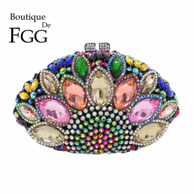 Hollow Out Multi Giant Stones Women Peacock Crystal Clutch Evening Bags Bridal Wedding Party Prom Handbag Purse Metal Clutches