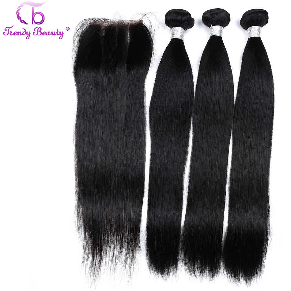 Indian Straight hair 3 bundles with 4x4 closure Natural black 100% Human Hair Weaves 8-28 inches Non-Remy Trendy beauty 4 Ppcs