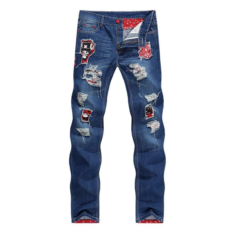 NEW Style Patchwork Men Jeans Straight Slim Fit Ripped Classic Rap Tapered Hip Hop Biker Jeans Punk Skull Denim Students Pants newsosoo personality badge patchwork jeans mens ripped men jeans rap biker hole hip hop denim straight slim fit casual men pants