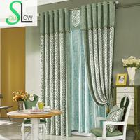 Slow Soul Living Room Bedroom Curtain Cloth Chenille Jacquard Fabric French Window Blackout Style Curtains