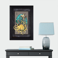 3D Butterfly Framed Picture 24K Gold foil Painting Wall art pictures for Living room Desktop Ornaments Crafts Home Decor Gifts
