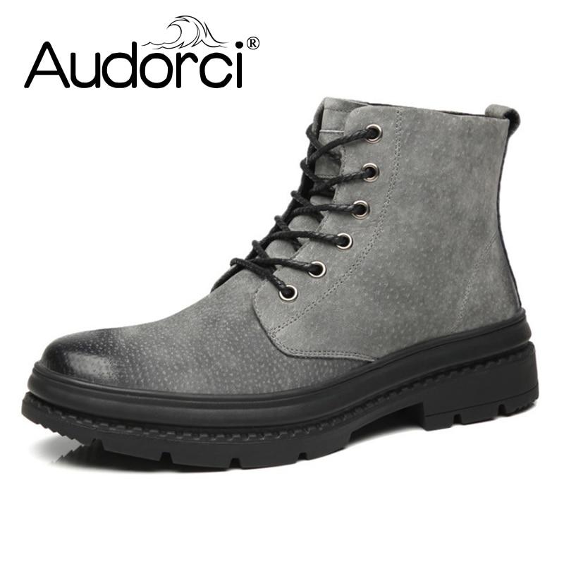 Audorci Fashion Winter Shoes For Men Suede pu Leather Snow Men Boots High Quality Comfy Casual Shoes Men Size 38-44 3Colors