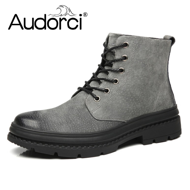 Audorci Fashion Winter Shoes For Men Suede pu Leather Snow Men Boots High Quality Comfy Casual Shoes Men Size 38-44 3Colors