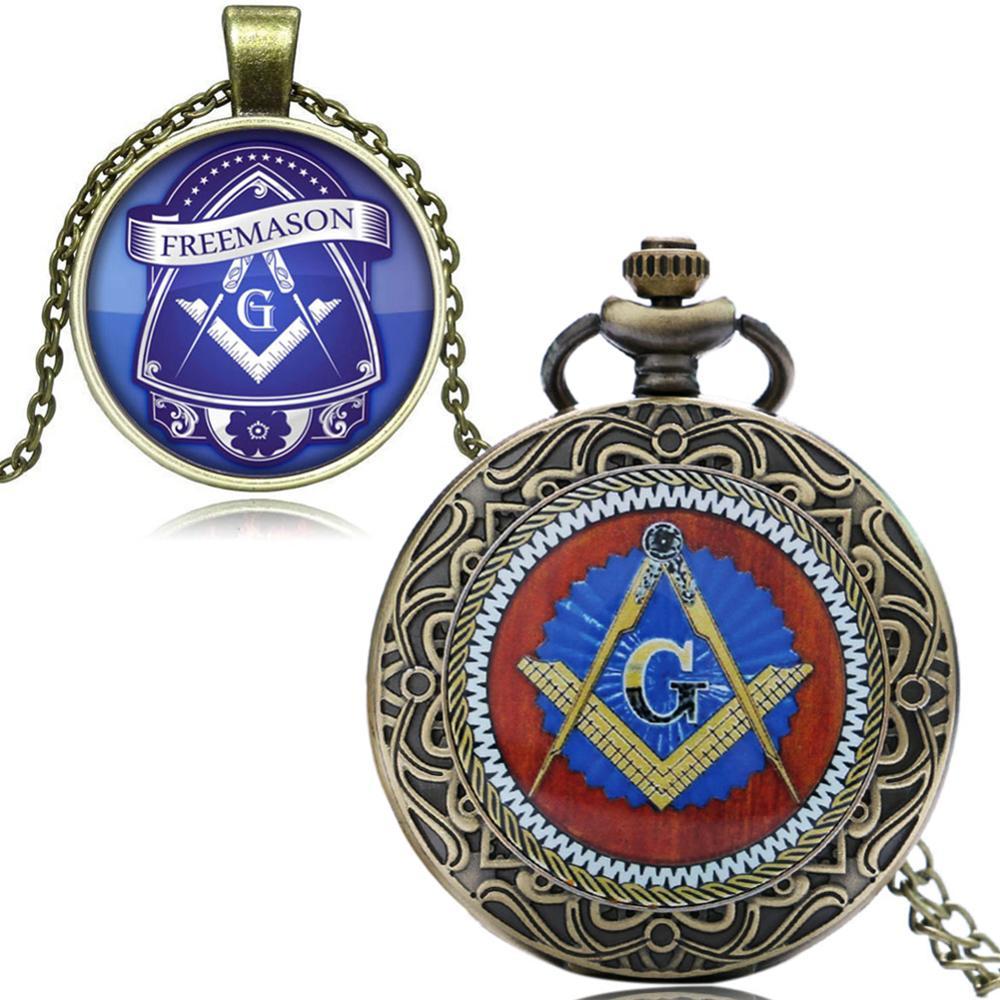 Image 2 - Masonic Freemason Freemasonry Pocket Watch Chain Men Women Quartz Watches Best Gift for Friend P1437-in Pocket & Fob Watches from Watches