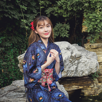 Asia & Pacific Islands Clothing vintage traditional japanese Yukata new Peacock blue design japanese traditional kimonos