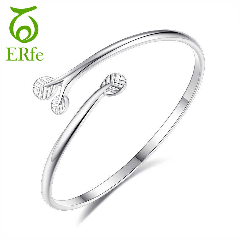 Cute Open Silver Leaf Bangle Cuff Bracelet Femme Argent Love Jewelry Hand Accessories for Women Puseira SB006