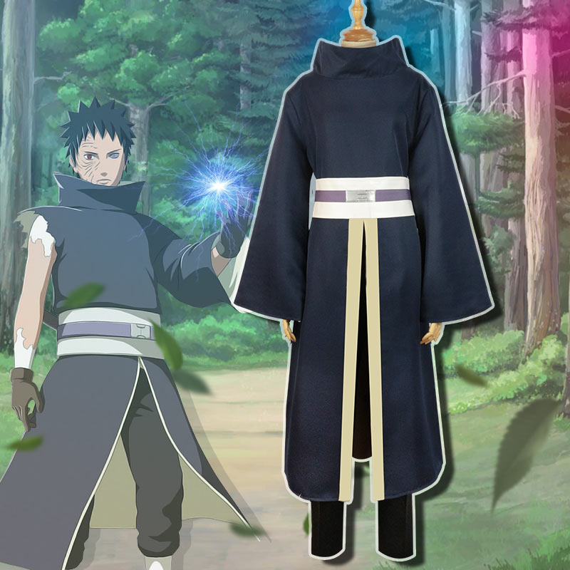 Milky Way Anime Naruto Shippuden Uchiha Obito Cosplay Costume Uniform Ccoat Pants Belt Full Set Cosplay