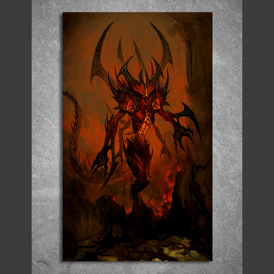 1 piece canvas painting game poster Diablo III HD posters and prints canvas painting for living room
