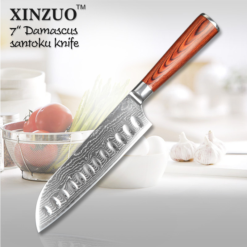 High quality 7 santoku font b knife b font 73 layers Japanese VG10 Damascus steel kitchen