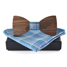 Wood Bow Tie for Mens Handkerchief Polyester Pocket Square Wooden Bowtie Business For Wedding Party
