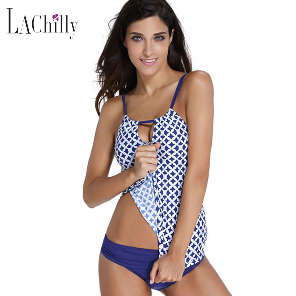 ФОТО Lachly 2017 New Women LC41998 Sexy Swimsuit Tankini with Shorts Girls Plus Size XXL Bathing Suit 2 Pieces Suits Sporty Clothing