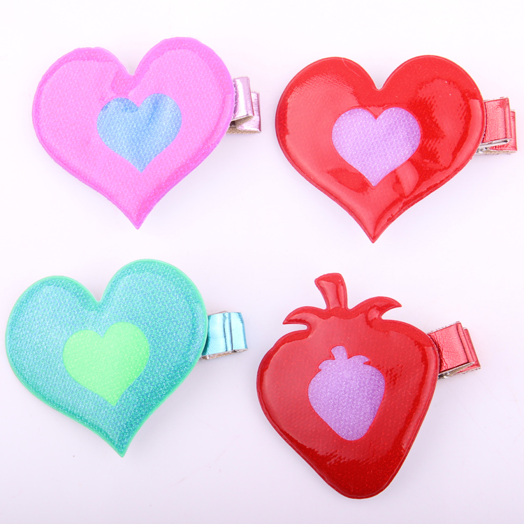 New arrivals Cute fluorescence color  heart design barrettes stawberry hairpins hair accessories clips girls 20pcs/lot