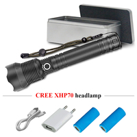 xhp70 Rechargeable zoom Powerful led flashlight xhp70 usb torch flashlight 26650 / 18650 lampe torche waterproof camping light