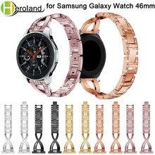 Купить с кэшбэком Stainless steel 22mm watch strap for Samsung Galaxy Watch 46mm band smart watchstrap Rhinestone Replacement watchbands bracelet
