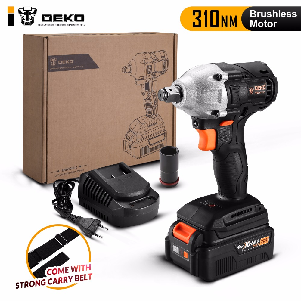 DEKO GBW20DU2 4000mAh 20-Volt Max Brushless Electric Impact Wrench Lithium-Ion Battery 2000rpm 310Nm Torque
