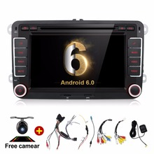 Quad Core Android 6.0 car dvd player gps 2Din 7 Inch For Volkswagen VW Skoda POLO PASSAT B6 CC TIGUAN GOLF 5 Wifi Camera