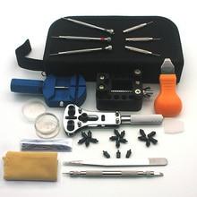 Kit de herramientas para relojes, Set de herramientas de reparación de relojes, abridor de relojes, herramientas de eliminación de barras y muelles, destornillador, pinzas de enlace, paño de limpieza