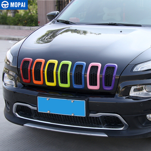 Image 3 - MOPAI Car Exterior Accessories ABS 3D Front Insert Grill Cover Decoration Frame Stickers For Jeep Cherokee 2014 Up Car Styling