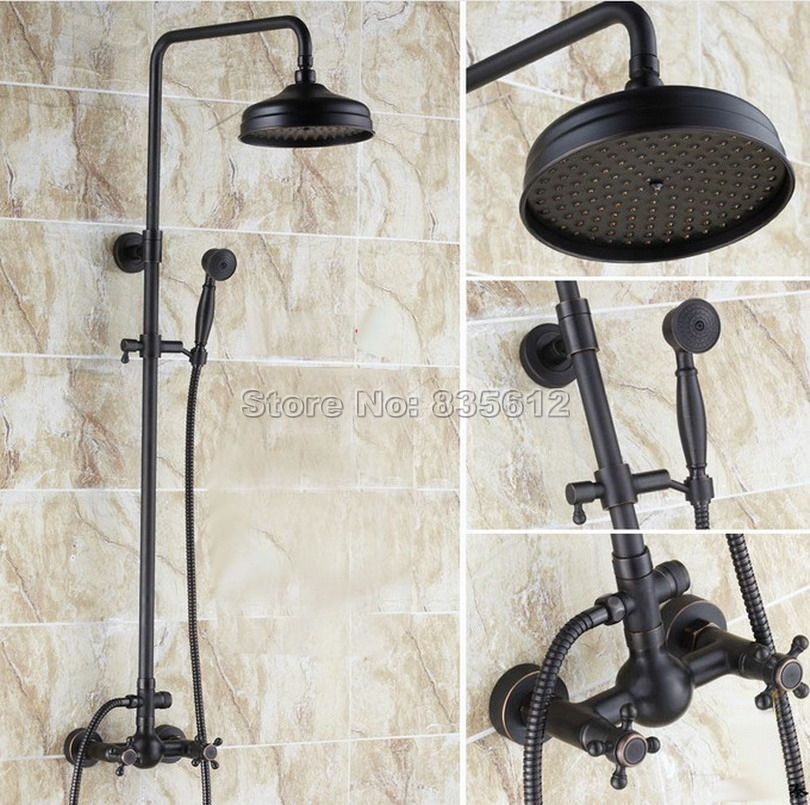 Black Oil Rubbed Bronze Bathroom Rain Shower Faucet Set with Hand Spray & Wall Mounted Dual Cross Handles Mixer Taps Wrs047