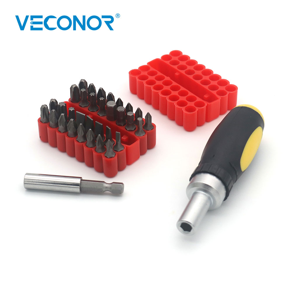 Veconor Ratchet Screwdriver Set With 32 Pieces Bits And Extension Rod Mini Screwdriving Tools