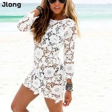 Для женщин летние Пляжные наряды пикантные женские мини-платье с длинными рукавами и круглым вырезом платье выдалбливают Белый Кружево платье Vestido