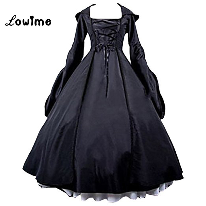 Puffy Prom Dresses Black Women's Gothic Victorian Poplin Lolita Witch Dress Long Sleeves Evening Gowns Party Dress