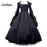 Puffy Prom Dresses Czarny Czarownica Popelina Z Kapturem damska Gothic Victorian Lolita Dress Długie Rękawy Wieczór Suknie Party Dress