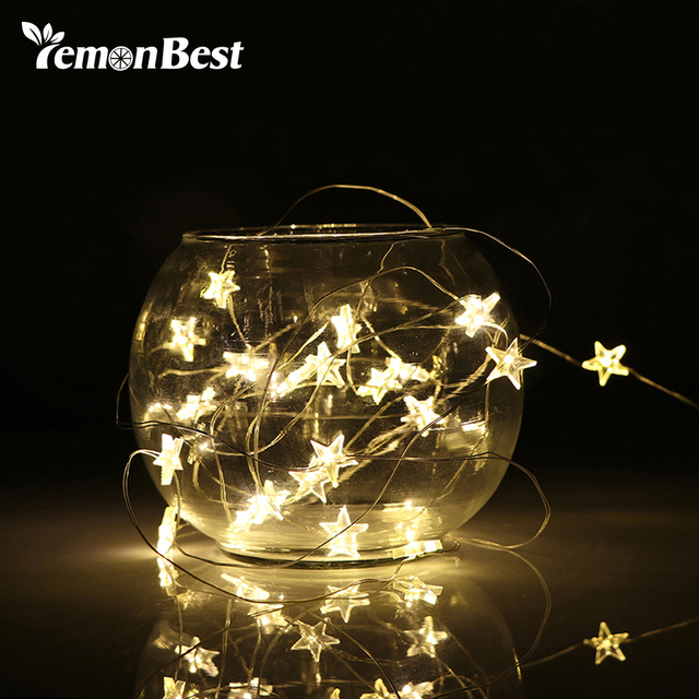 2 3m String Led Lights Decoration Fairy Light Battery Operated Waterproof Star Copper Wire Lamp