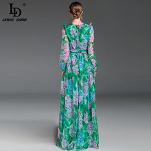 High Quality 2017 Summer Runway Maxi Dress Women's Long Sleeve Floor Length Boho Beach Party Floral Printed Casual Long Dress