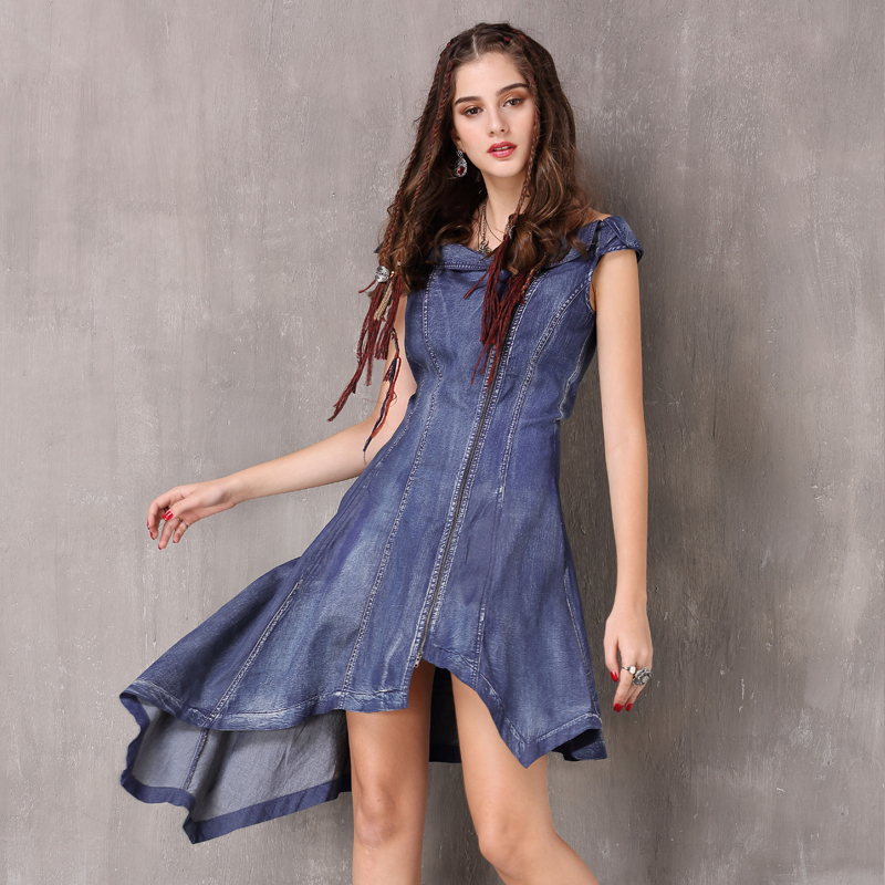 Women Dress 2018 Keer Boho Cotton Denning Cowboy Dresses Slash Neck Sleeveless Vestidos A82088 Vintage Denim Vestido Feminina