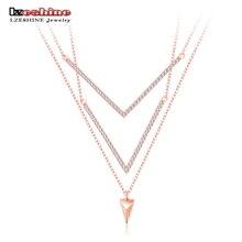 Lzeshine new romantic mujeres clavícula collares colgantes collares de oro rosa de placas micro con incrustaciones de circonio cúbico joyería cnl0623-a