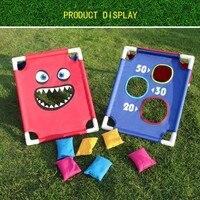 1 Set Chirldren Cornhole Boards with 6 Bean Bags Outdoors Children Entertainments Playground Sandbags Sports Set for Kids