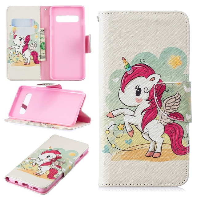 9dfca767fb7 Flip Wallet Case for Samsung Galaxy S10 S10 Plus Lite Cute Unicorn Leather  Cover for Samsung S10 S10 Plus Lite Funda for Girls