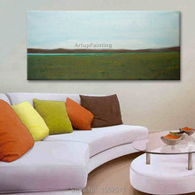 Green Lake Acrylic Paint Home Decoration Oil Painting on canvas hight Quality Hand-painted Wall Art 24X48 inch ,36X72