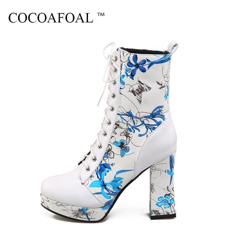 COCOAFOAL Women's Lace Up Green Ankle Boots Autumn Winter Plus Size 34 - 43 Red High Heeled Shoes Sexy Embroider Martin Boots moonight cheap red overbust sexy corset top lace up corsets and bustiers plus size