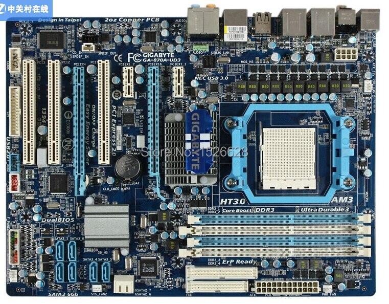 100% original Free shipping desktop motherboard for Gigabyte GA-870A-UD3 870A-UD3 DDR3 Socket AM3 mainboard free shipping  free shipping original motherboard for gigabyte ga a55 s3p socket fm1 ddr3 32gb a55 s3p all solid atx desktop motherboard