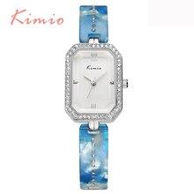 KIMIO Moda de Cristal de Diamante Pulsera de Cuarzo Reloj De Señoras De Cerámica Azul Feminino Reloj Banda Relojes de Las Mujeres Marca de Fábrica Superior