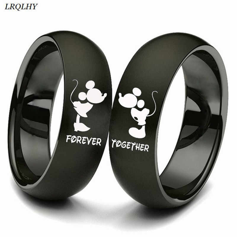 Mr. MRS couple ring forever together finger ring trendy simple Titanium metal jewelry cute Mickey Minnie symbol fashion gift