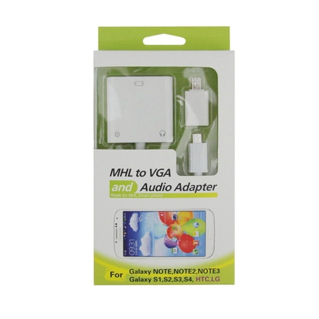 MHL to VGA and Audio Adapter Made for MHL Smart Phone for Samsung Galaxy Note/Note 2/Note 3/ Galaxy S2/S3/S4 for HTC/LG