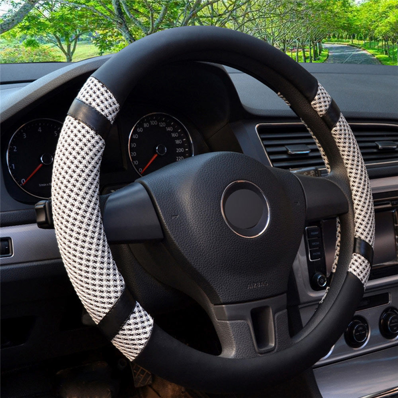 Ice Silk Steering Wheel Cover Cooling 15 39 39 Gray Microfiber Leather Car Styling For Car Covers Accessories Hot Wheels Universal in Steering Covers from Automobiles amp Motorcycles