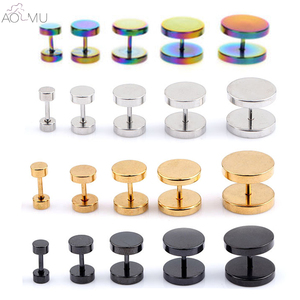 AOMU Stainless Steel Fake Cheater Illusion Screw Ear Plug Flesh Tunnel Tapers Earrings Ear Stretch Expander 18 Gauge 6-14mm(China)