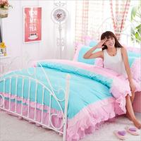 New Style Colorful Princess Lace Bed Skirt Duvet Cover Set
