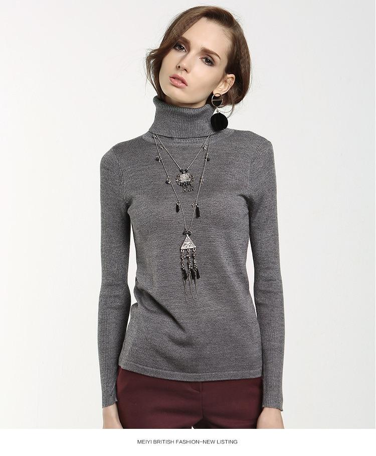 Moda Delgado Suéteres de Punto Europa Nueva Caliente de cuello alto Manga Larga