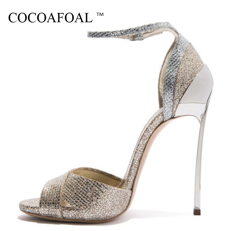 COCOAFOAL Women Open Toe Gold Sandals Plus Size 33 43 Heels Bridal Shoes Woman Party Sexy Bling High Heels Wedding Sandals 2018 gold women sandals wedding party high heels cross straps bridal party sandal shoes womans size 11 shoes open toe ankle strap