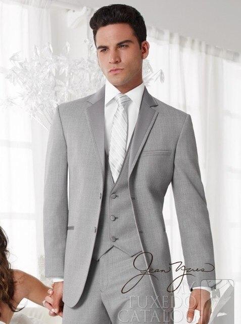 2017 Latest Coat Pant Designs Light Grey Wedding Suits For Men Groom ...