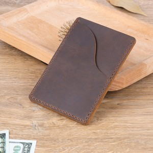 Image 5 - 100 pieces / lot 9.8x7cm Genuine Cow Leather Business ID Card Holder Crazy Horse Leather Travel Credit Wallet Men Purse Case