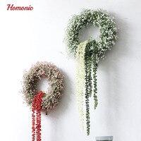 Artificial Gypsophila Flower Wreath Door Decoration Hanging Wreaths Flowers Garland Artificial Bud Rattan Grass For