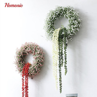 Artificial gypsophila Flower Wreath Door Decoration Hanging Wreaths Flowers Garland Artificial Bud Rattan Grass for Home Garden