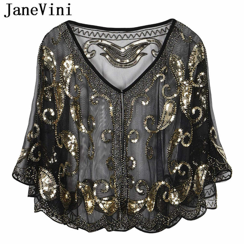 JaneVini Sparkling Sequined Black Gold Bridal Shawl Wrap Bolero V Neck Short Stoles Women Wedding Cape Cloak Wedding Accessories